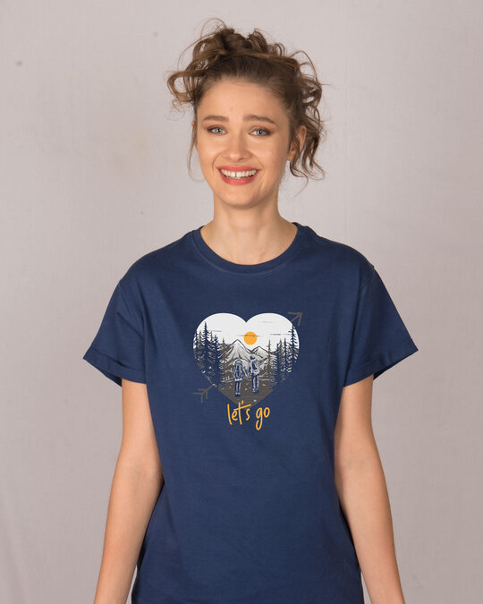 Shop Let's Go Heart Boyfriend T-Shirt-Front