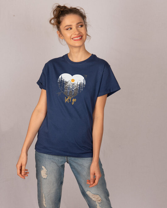 Shop Let's Go Heart Boyfriend T-Shirt-Full