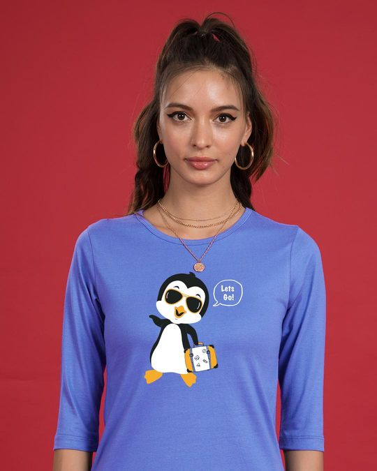 Shop Let's Go Penguin Round Neck 3/4th Sleeve T-Shirt-Front