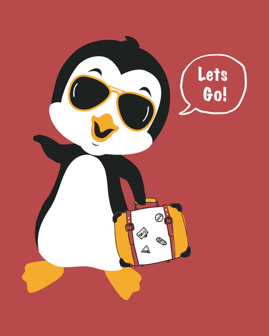 Shop Let's Go Penguin Round Neck 3/4th Sleeve T-Shirt