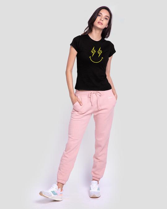 Shop Let's Rock Smiley Half Sleeve Printed T-Shirt Black-Full