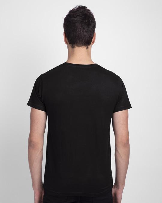 Shop Let's Rock Smiley Half Sleeve T-Shirt Black-Back