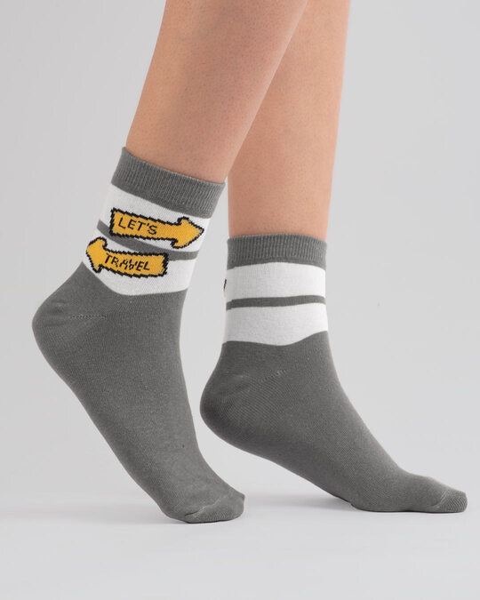 Shop Let's Travel Unisex Socks-Front