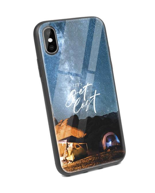 Shop Lets Get Lost Space iPhone X Glass Mobile Cover-Back