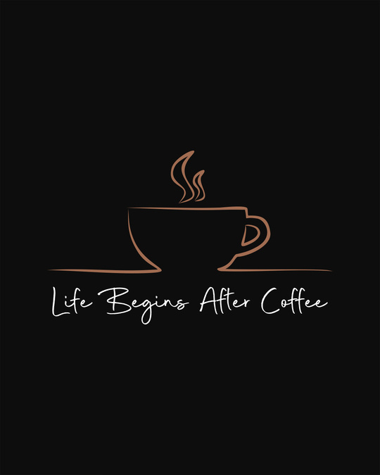 Shop Life Begins After Coffee Round Neck 3/4th Sleeve T-Shirt