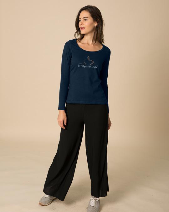 Shop Life Begins After Coffee Scoop Neck Full Sleeve T-Shirt-Design
