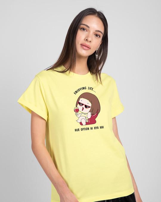 Shop Life Option Boyfriend T-Shirt Pastel Yellow-Front