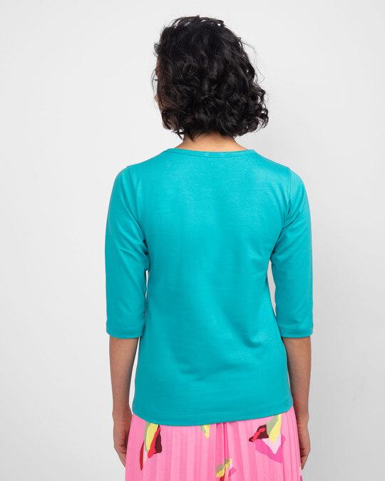 Shop Life Option Round Neck 3/4th Sleeve T-Shirt Tropical Blue-Back