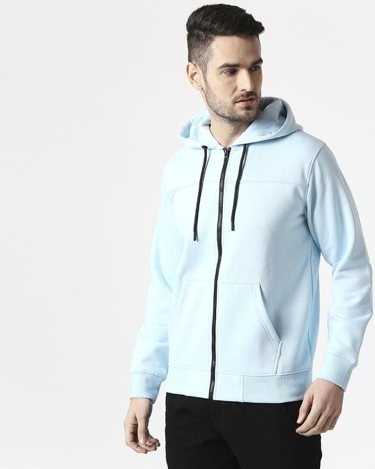 Shop Light Blue Melange Stylised Zipper Hoodie-Front