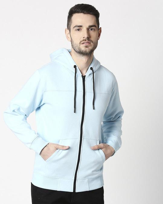 Shop Light Blue Melange Stylised Zipper Hoodie-Back