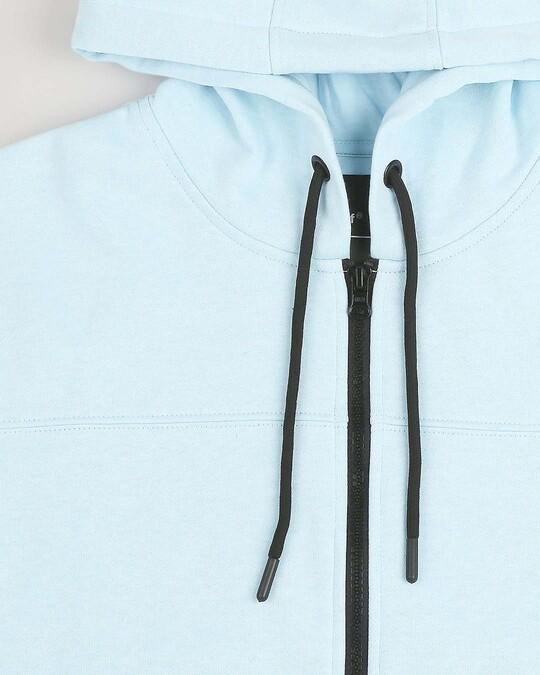 Shop Light Blue Melange Stylised Zipper Hoodie