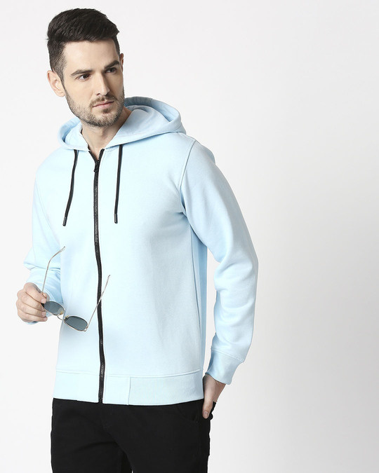 Shop Light Blue Melange Zipper Hoodie-Front