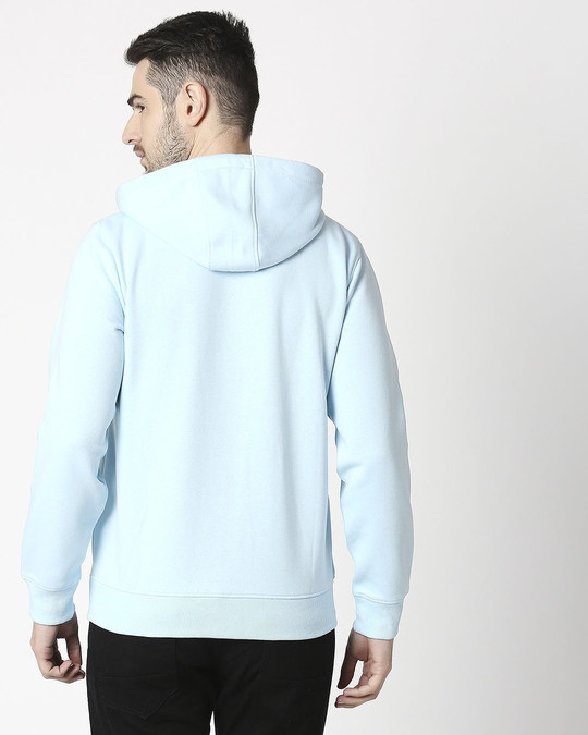 Shop Light Blue Melange Zipper Hoodie-Design