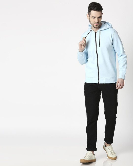 Shop Light Blue Melange Zipper Hoodie-Full
