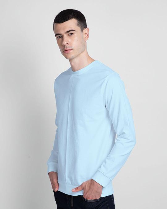 Shop Light Blue Melange Fleece Sweater-Design