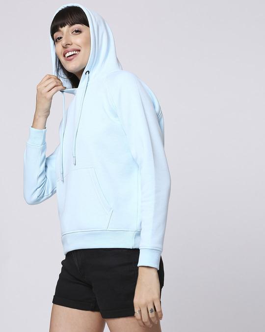 Shop Light Blue Melange Hoodie Sweatshirt-Design