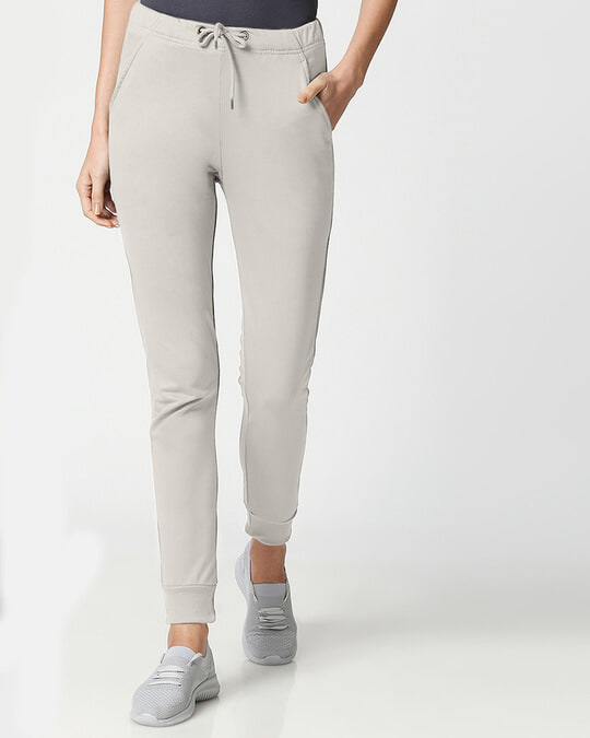 Shop Light Grey Casual Jogger Pants-Front