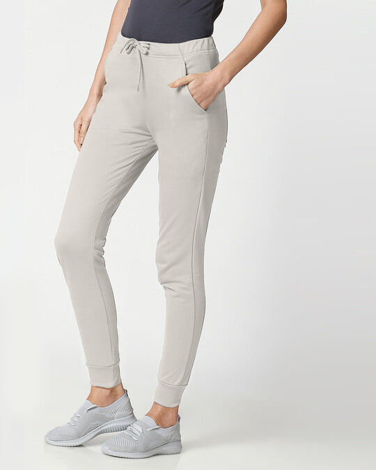 Shop Light Grey Casual Jogger Pants-Back