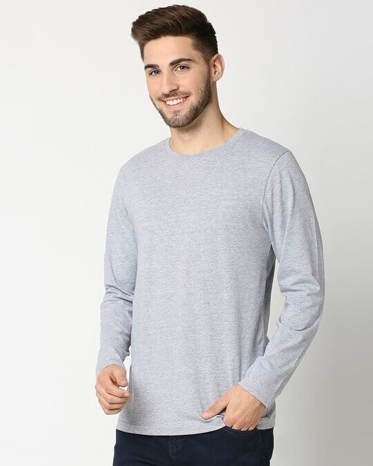 Shop Light Grey Melange Full Sleeve T-Shirt-Back