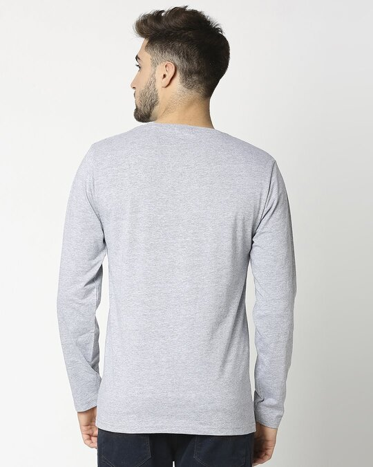 Shop Light Grey Melange Full Sleeve T-Shirt-Design