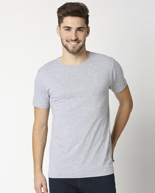 Shop Light Grey Melange Half Sleeve T-Shirt-Front