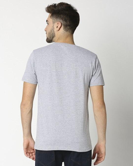 Shop Light Grey Melange Half Sleeve T-Shirt-Design