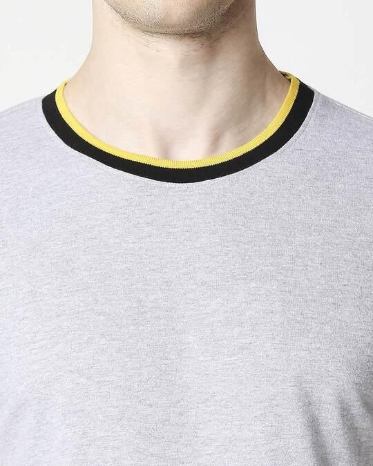 Shop Light Grey Melange Round neck Varsity H/S T-shirt