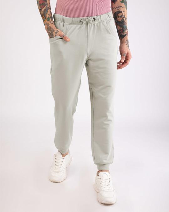 Shop Light Grey Round Pocket Joggers Pants-Front