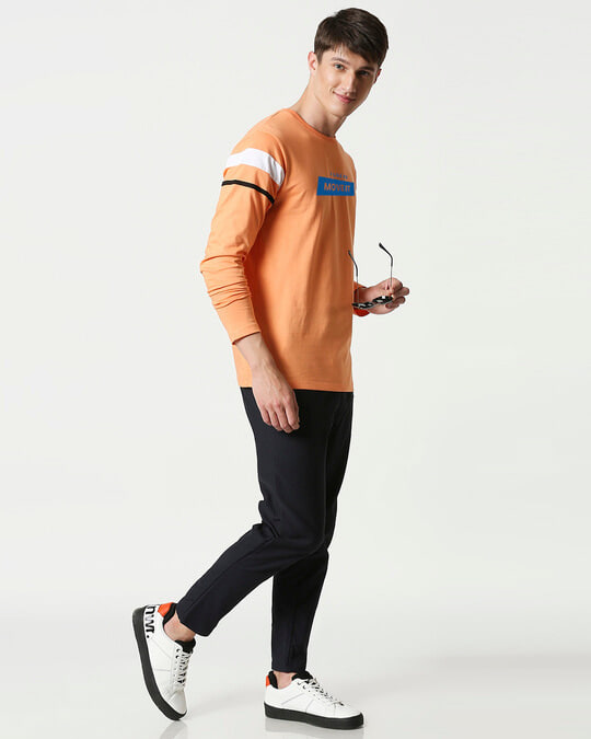 Shop Like To Move  Color Block Full Sleeves T-Shirt