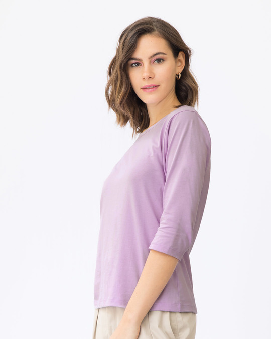 Shop Lilac Breeze Round Neck 3/4th Sleeve T-Shirt-Full