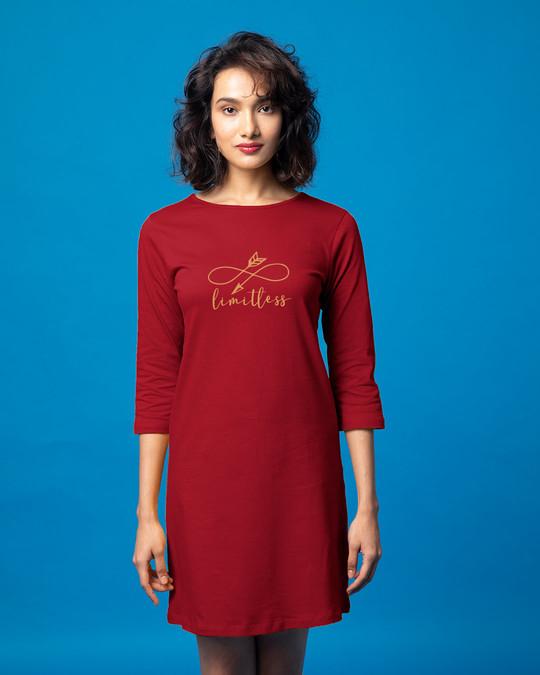 Shop Limitless Arrow Boat Neck 3/4th Sleeve T-Shirt Dress-Front