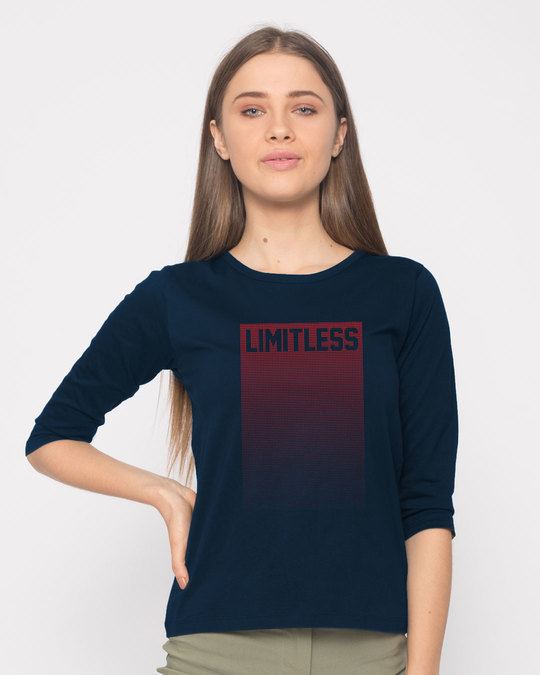 Shop Limitless Ombre Round Neck 3/4th Sleeve T-Shirt-Front