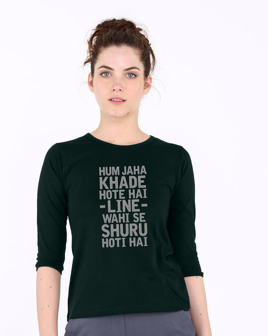 Shop Line Wahi Se Round Neck 3/4th Sleeve T-Shirt-Front