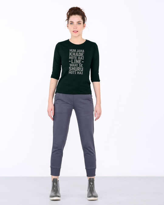 Shop Line Wahi Se Round Neck 3/4th Sleeve T-Shirt-Full