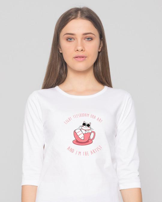 Shop Lite Teeskodam Oka Art Round Neck 3/4 Sleeve T-Shirts-Front