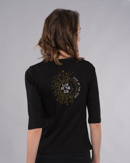 Shop Live By The Sun 3/4th Sleeve T-Shirt (GOLD PRINT)-Full