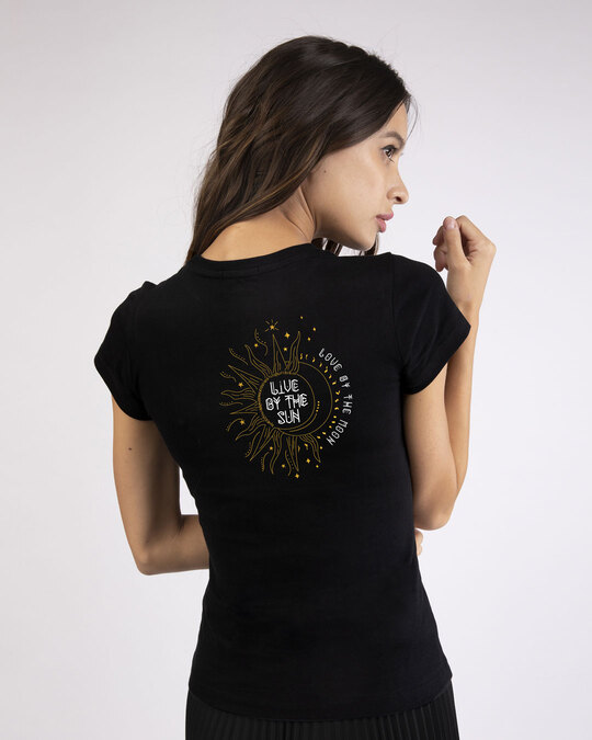 Shop Live By The Sun Half Sleeve T-Shirt (GOLD PRINT)-Design
