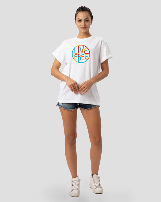 Shop Live Free Colorful Boyfriend T-Shirt-Design