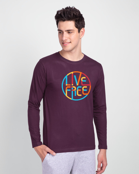 Shop Live Free Colorful Full Sleeve T-Shirt Deep Purple-Front