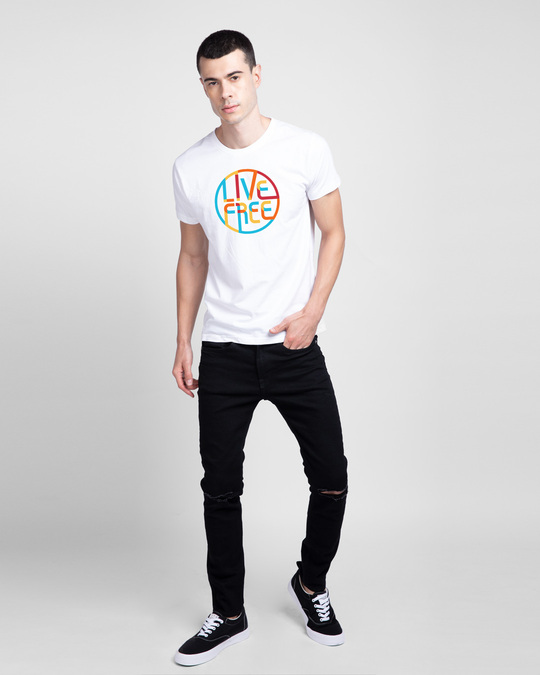 Shop Live Free Colorful Half Sleeve T-Shirt-Design