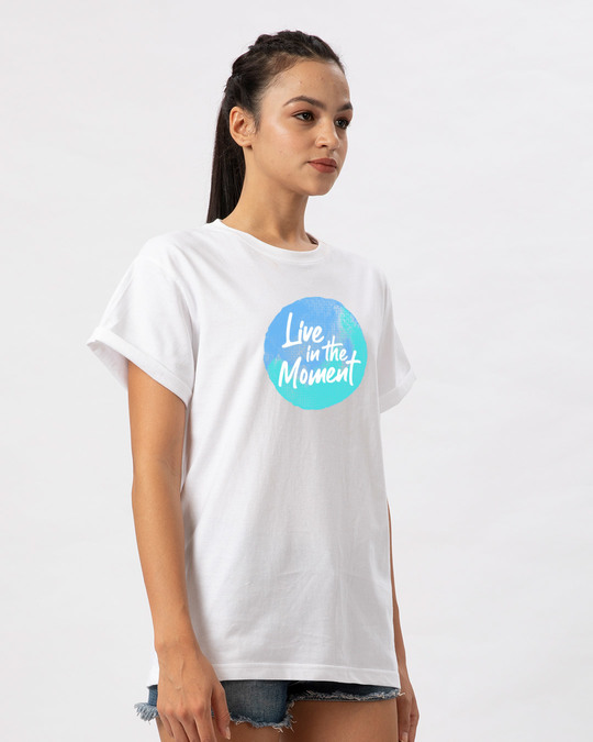 Shop Live In The Moment Boyfriend T-Shirt-Back