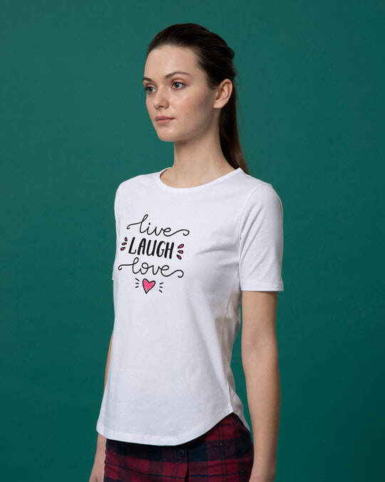 Shop Live Laugh Love Basic Round Hem T-Shirt-Back