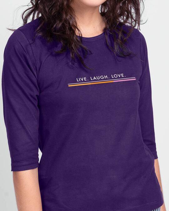 Shop Live Love Strip Round Neck 3/4 Sleeve T-Shirts Parachute Purple -Front