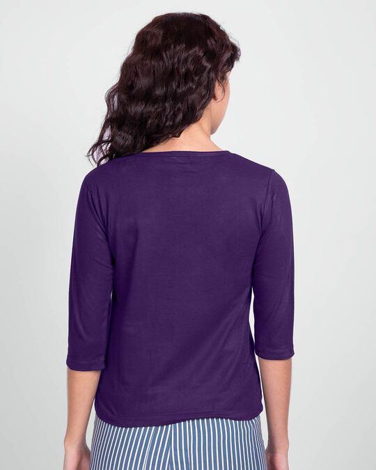 Shop Live Love Strip Round Neck 3/4 Sleeve T-Shirts Parachute Purple -Design
