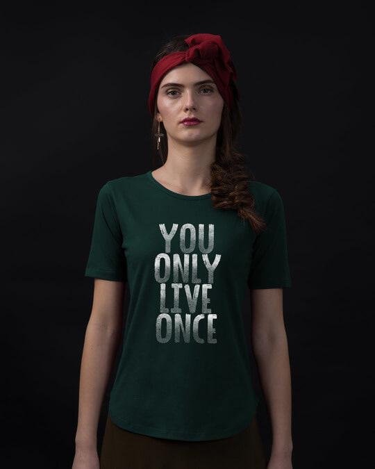 Shop Live Once Basic Round Hem T-Shirt-Front
