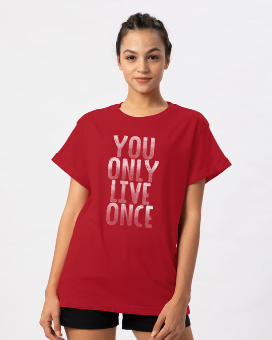 Shop Live Once Boyfriend T-Shirt-Front