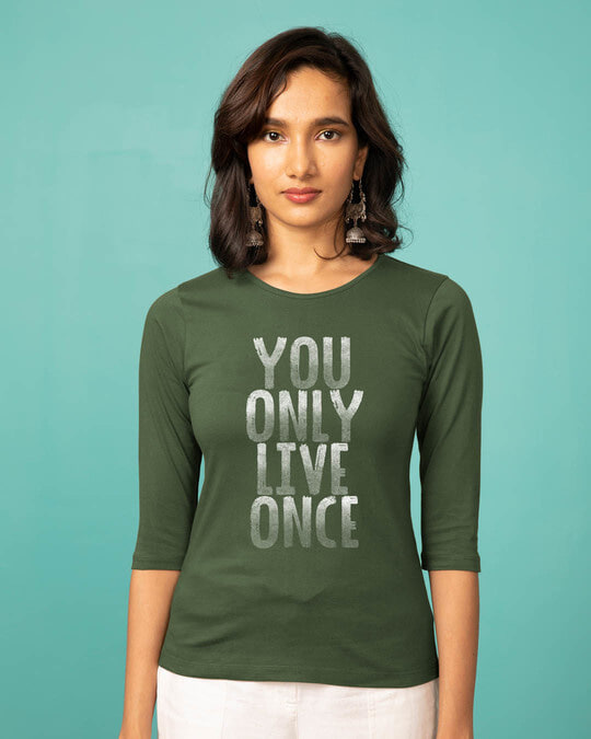 Shop Live Once Round Neck 3/4th Sleeve T-Shirt-Front