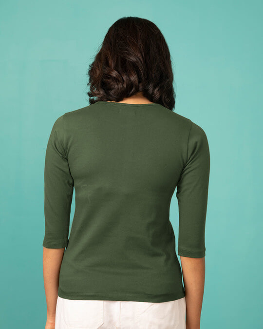 Shop Live Once Round Neck 3/4th Sleeve T-Shirt-Full