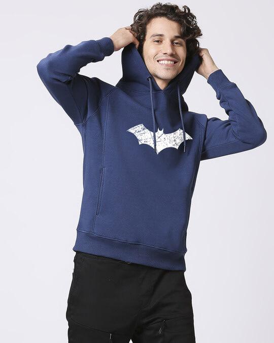 Shop Logo Batman Stylised Panel Hoodie Sweatshirt (BML)(GID)-Back