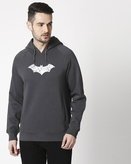 Shop Logo Batman Stylised Panel Hoodie Sweatshirt (BML)(GID)-Back
